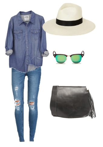 One Teaspoon shirt; RES Denim jeans; My Red Lippy hat; Ray Ban sunglasses; River Island bag