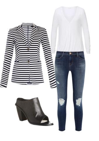 Max Mara blazer; Seed top; J Brand jeans; Sol Sana mules
