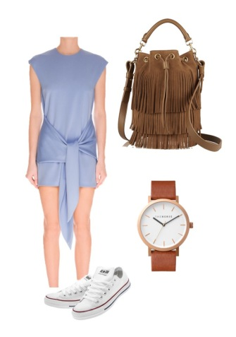 Cameo dress; Saint Laurent bag; The Horse watch; Converse sneakers
