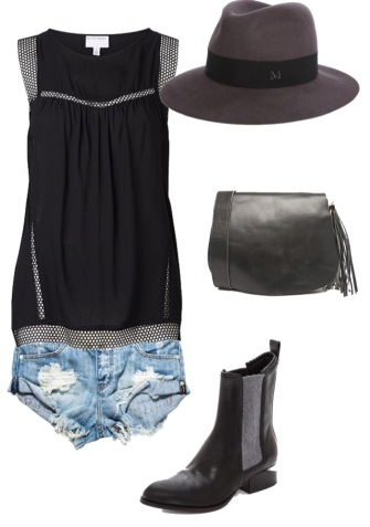 Witchery top; One Teaspoon shorts, Maison Michel hat, River Island bag, Alexander Wang boots