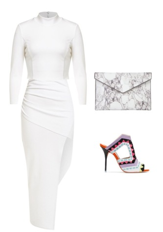 Bardot top & skirt; Rebecca Minkoff clutch; Sophia Webster mules