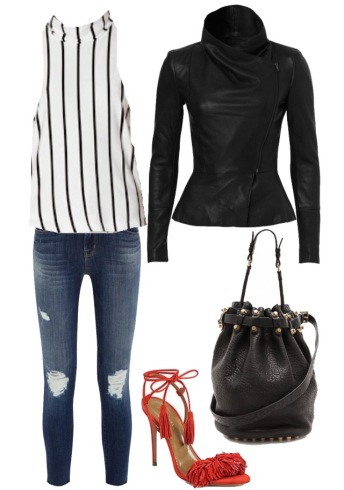 The Fifth Jupiter Sunshine Top $49.95 from Fashion Bunker; Kookai Lafayette jacket $550; J Brand jeans $308; Aquazurra Wild Thing heels $785; Alexander Wang Small Diego Bucket Bag $1089.50